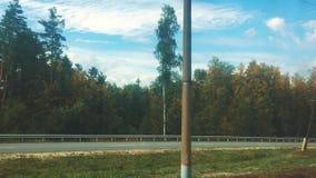 Furgonu kolejowy widok od nadokiennego ruchu drogowego ruchu drogowego ruchu pociągu podróży pojęcia styl życia lasowej lasowej p zbiory wideo