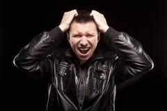 Furia - wrzask gniewny mężczyzna Fotografia Royalty Free