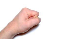 furieux Homme fâché claquant le poing dans une table Image stock