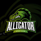 Furious alligator sport vector logo concept  on dark background. Stock Photo