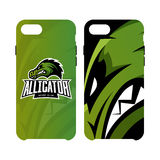 Furious alligator sport vector logo concept smart phone case isolated on white background. Stock Photos