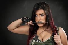Furious Army girl Stock Photos