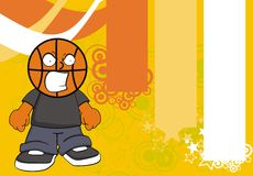 Furious Basketball kid head cartoon background Stock Images
