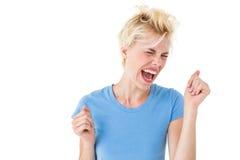 Furious blonde woman shouting Stock Photos