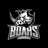 Furious boar sport club vector logo concept on dark background. Web infographic team pictogram design. Premium quality wild animal t-shirt tee print vector illustration