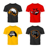 Furious boar, wolf, panther and eagle head sport vector logo concept set isolated on color t-shirt mockup. Stock Image