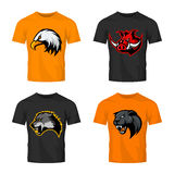 Furious boar, wolf, panther and eagle head sport vector logo concept set isolated on color t-shirt mockup. Stock Images