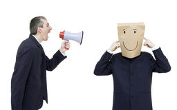 Furious boss with megaphone Stock Photo