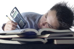 Boy with too much homework Stock Image