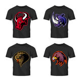 Furious bull, rhino, cobra and eagle head sport vector logo concept set isolated on black t-shirt mockup. Stock Photo
