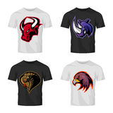 Furious bull, rhino, cobra and eagle head sport vector logo concept set isolated on t-shirt mockup. Stock Photo