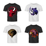 Furious bull, rhino, cobra and eagle head sport vector logo concept set  on t-shirt mockup. Royalty Free Stock Photos