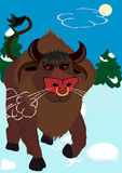 The furious bull on a snow. Muzzle of the shaggy furious bull. A symbol of New 2009 stock illustration