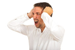 Furious business man screaming Stock Images