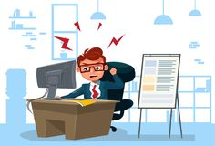 Furious Business Man Working On Computer Sit At Desk Over Office Background. Flat Vector Illustration Royalty Free Stock Photo