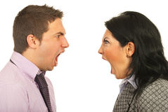 Furious business people having dispute. Close up of furious heads of business people having dispute and screaming each other over white background Stock Photos