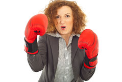 Furious business woman in attack royalty free stock photography