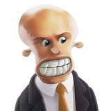 Furious Businessman. Furious bald-headed Businessman with big teeth and round eyes Royalty Free Stock Photography