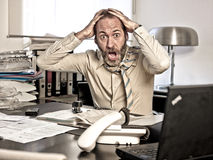 Furious Businessman, mouth open Stock Images