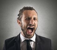 Furious businessman screaming. Portrait of an angry furious businessman screaming Stock Image