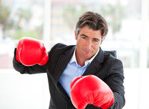 Furious businessman wearing boxing gloves Royalty Free Stock Photo