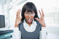 Furious businesswoman screaming Stock Photo