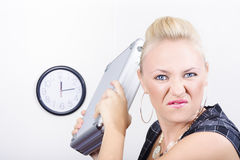 Unhappy business person throwing office fit Stock Images