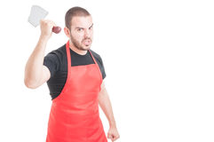 Furious butcher threaten with sharp knife Royalty Free Stock Photography