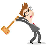 Furious caucasian businessman screaming and swinging a sledgehammer. Angry caucasian cartoon businessman with glasses and in a gray suit screaming and swinging a royalty free illustration