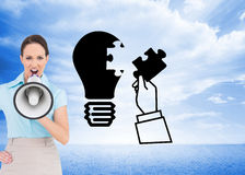 Furious classy businesswoman talking in megaphone Stock Image
