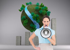 Furious classy businesswoman talking in megaphone Stock Photos
