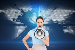 Furious classy businesswoman talking in megaphone Royalty Free Stock Image