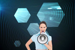 Furious classy businesswoman talking in megaphone Royalty Free Stock Photo