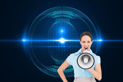 Furious classy businesswoman talking in megaphone Royalty Free Stock Photos