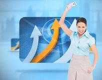 Furious classy businesswoman throwing her calculator Royalty Free Stock Photography