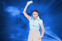 Furious classy businesswoman throwing her calculator Stock Images