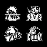 Furious cobra, wolf, eagle and boar sport vector logo concept set isolated on dark background. Stock Images