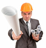 Furious contractor with plans. Isolated on white Stock Photos