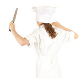 Furious cook woman with knife Royalty Free Stock Photo