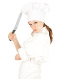 Furious cook woman with knife Stock Photo