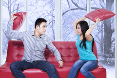 Furious couple hitting each other Stock Photography
