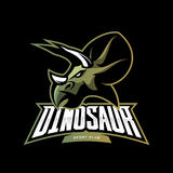 Furious dinosaur sport club vector logo concept isolated on black background. Stock Photo