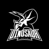 Furious dinosaur sport club vector logo concept isolated on black background. Stock Image