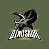Furious dinosaur sport club vector logo concept isolated on khaki background. Stock Image