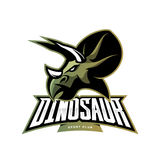 Furious dinosaur sport club vector logo concept isolated on white background. Stock Photo