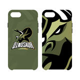 Furious dinosaur sport club vector logo concept smart phone case isolated on white background. Stock Image