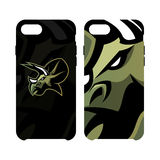 Furious dinosaur sport club vector logo concept smart phone case isolated on white background. Royalty Free Stock Image