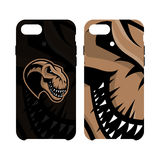 Furious dinosaur sport club vector logo concept smart phone case isolated on white background. Stock Images