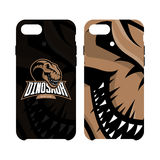 Furious dinosaur sport club vector logo concept smart phone case isolated on white background. Royalty Free Stock Photos