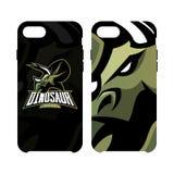 Furious dinosaur sport club vector logo concept smart phone case  on white background. Stock Photos